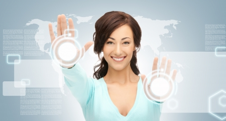 picture of businesswoman working with touch screen Stock Photo - 16547735