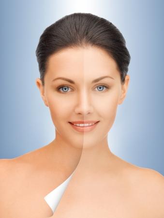 half and half: imagen de hermosa mujer con media cara curtida