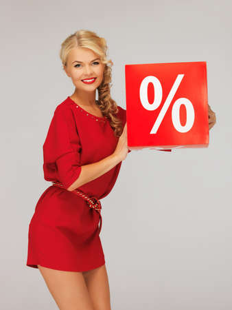 picture of lovely woman in red dress with percent sign Stock Photo - 16619363