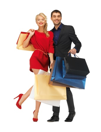 bright picture of man and woman with shopping bags Stock Photo - 16619078