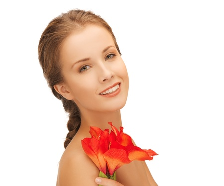 bright picture of lovely woman with red lily flower  Stock Photo - 16619128
