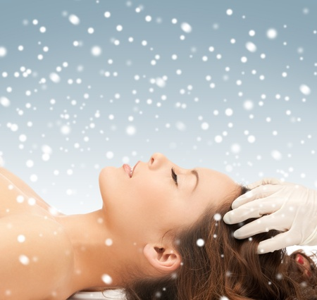 picture of beautiful woman in massage salon with snow Stock Photo - 16619253