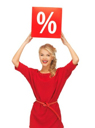 picture of lovely woman in red dress with percent sign Stock Photo - 16585256