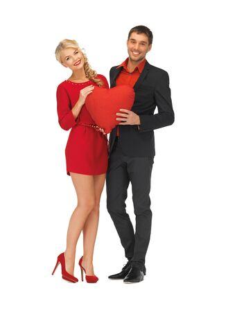 stylish couple: bright picture of beautiful couple holding big heart