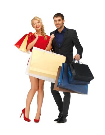 bright picture of man and woman with shopping bags Stock Photo - 16584805