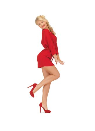 picture of dancing lovely woman in red dress Stock Photo - 16584675