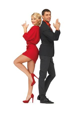 agent de sécurité: image de l'homme et de la femme en faisant un geste pistolet Banque d'images