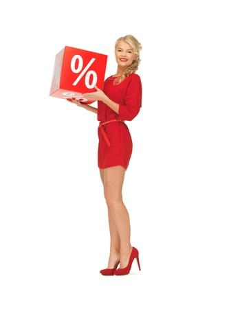 tacones rojos: Foto de mujer encantadora en vestido rojo con signo de porcentaje