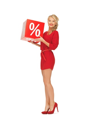 picture of lovely woman in red dress with percent sign Stock Photo - 16584678