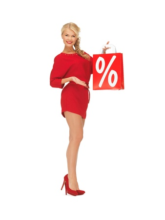 picture of beautiful woman in red dress with shopping bag Stock Photo - 16584717