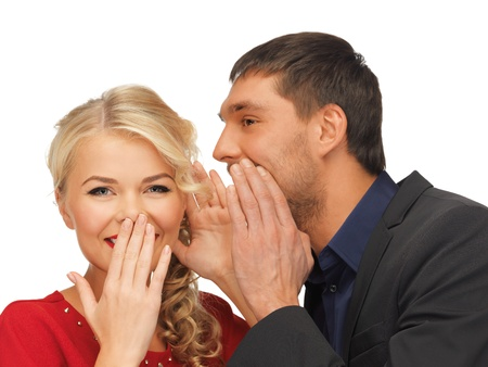 blab: bright picture of man and woman spreading gossip  focus on woman