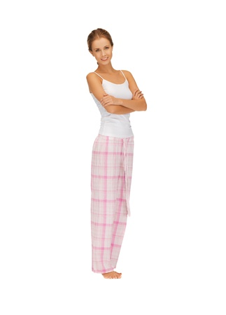 bright picture of happy and smiling woman in cotton pajamas Stock Photo - 16584655