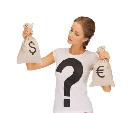 picture of woman with dollar and euro signed bags Stock Photo - 16585259