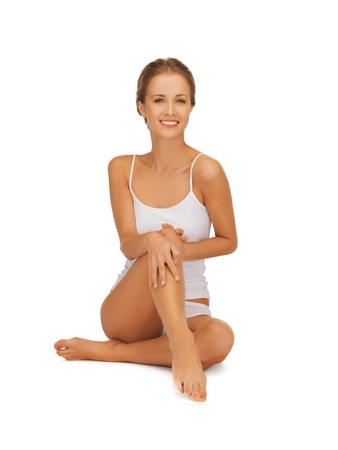 picture of beautiful woman in cotton undrewear touching her legs Stock Photo - 16584800