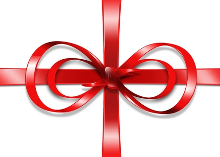 bright picture of red gift ribbon and bow Stock Photo - 16584700