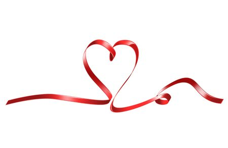 bright picture of red heart shaped ribbon Stock Photo - 16584621