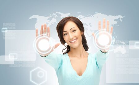 picture of businesswoman working with touch screen Stock Photo - 16584775