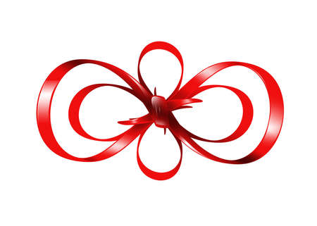 bright picture of red bow isolated on white background Stock Photo - 16584630