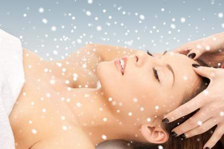 anti season: picture of beautiful woman in massage salon