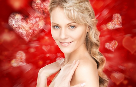 bright closeup portrait picture of beautiful woman  photo