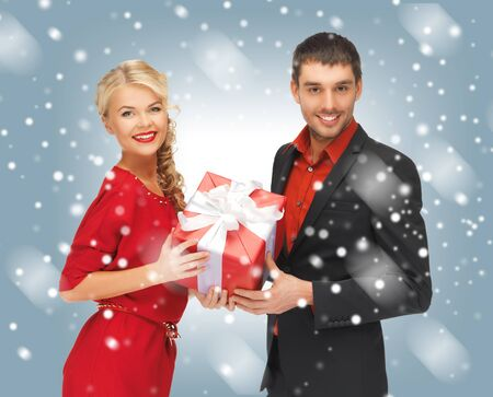picture of man and woman with present Stock Photo - 16606215