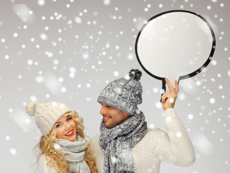 tog: picture of family couple with blank text bubble Stock Photo