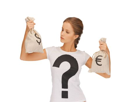 picture of woman with dollar and euro signed bags photo