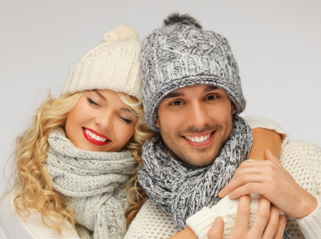 bright picture of family couple in a winter clothes Stock Photo - 16673240