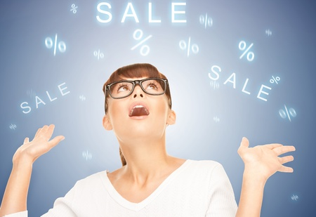shopping questions: picture of woman with facial expression of surprise Stock Photo