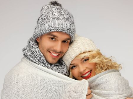bright picture of family couple under warm blanket Stock Photo - 16717279