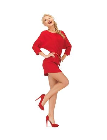 하이힐에 빨간 드레스에 사랑스러운 여자의 그림
