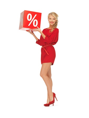 picture of lovely woman in red dress with percent sign Stock Photo - 16714374