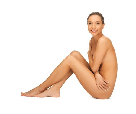 naked woman sitting: picture of healthy naked woman over white