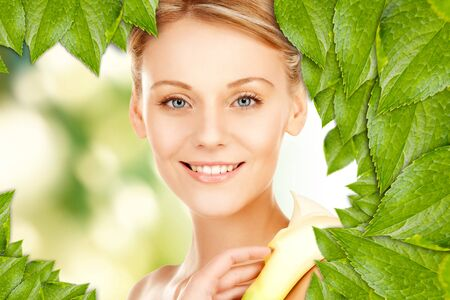 picture of beautiful woman with calla flower Stock Photo - 16716548