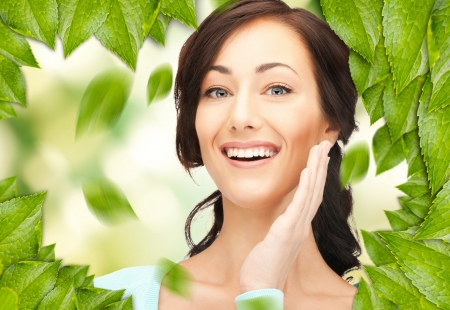 picture of beautiful woman with green leaves Stock Photo - 16716562