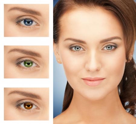 lentes de contacto: imagen de hermosa mujer con diferente color de ojos