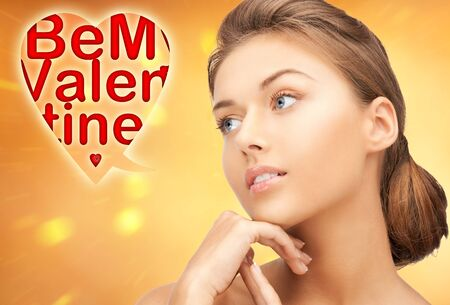 bright picture of lovely woman with be my valentine words Stock Photo - 16716543