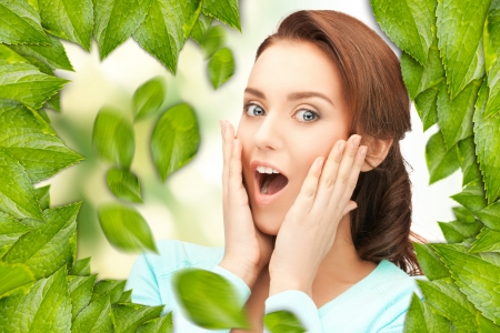 picture of beautiful woman with green leaves Stock Photo - 16716524