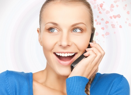 bright picture of woman with cell phone Stock Photo - 16716541