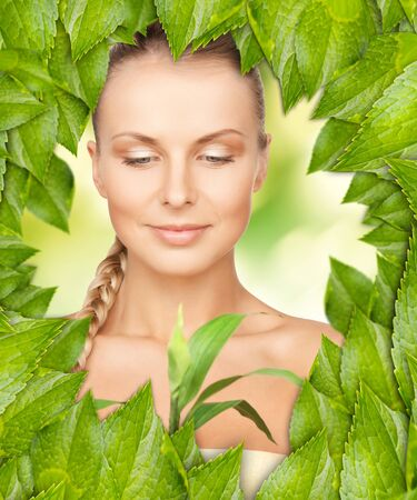 picture of beautiful woman with green leaves Stock Photo - 16716559