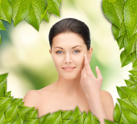 picture of beautiful woman with green leaves Stock Photo - 16716545