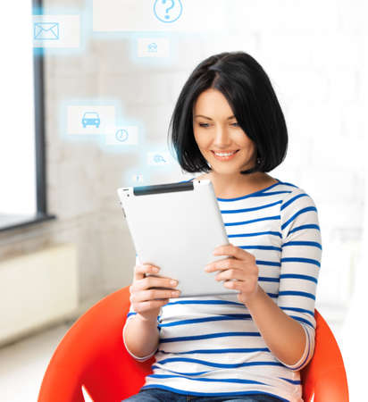 picture of happy teenage girl with tablet pc computer Stock Photo - 16716550