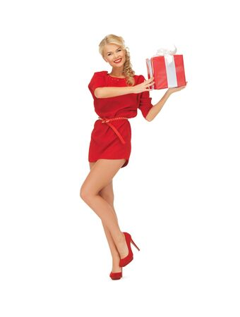 bright picture of woman in red dress with present Stock Photo - 16716563