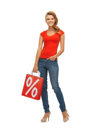 picture of teenage girl in red t-shirt with shopping bag Stock Photo - 16716567