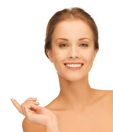 picture of beautiful woman with moisturizing creme drop  Stock Photo - 16716558