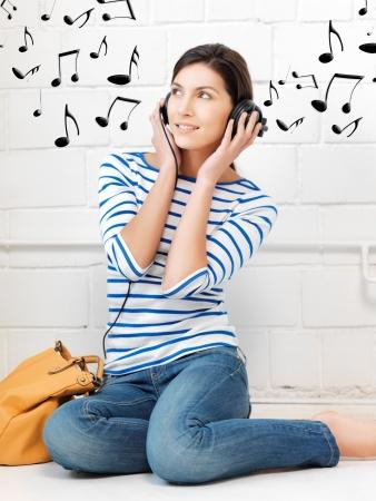 picture of happy teenage girl in big headphones Stock Photo - 16761990
