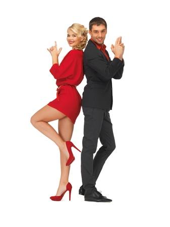 agent de s�curit�: image de l'homme et la femme en faisant un geste de pistolet