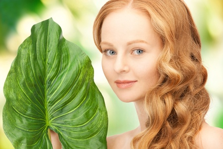 picture of happy woman with green leaf Stock Photo - 16796904