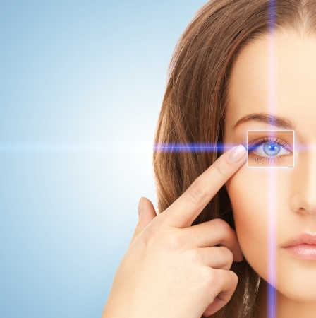 futuristic eye: picture of beautiful woman pointing to eye