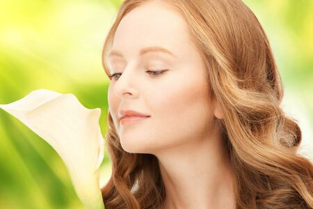 picture of beautiful woman with calla flower Stock Photo - 16848075